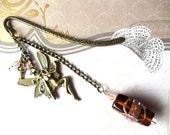 Fairy bookmark with lampwork bead, Swarovski crystal beads and tiny steampunk key charm