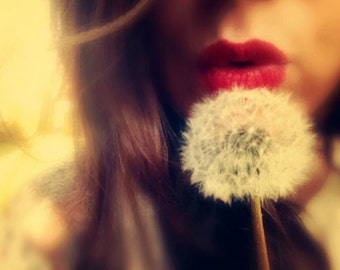Surreal Portrait Photography, Red Lips, Nature, Feminine, Dreamy, Minimal Photograph, Whimsical, Sexy, Dandelion Art, Vintage Style, fPOE