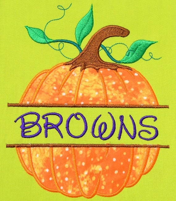 Split Pumpkin Embroidery Design