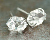 Herkimer Diamond Crystal Studs <<>>  Rose Gold, Sterling Silver, or Gold Prong Setting
