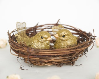 Gold Wedding Cake Topper, Love Birds for your Woodland Cake, Vine Nest Cake Decoration with Pretty Glitter Birds, Rustic, Country, Spring