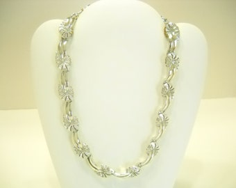 Vintage SILVER TONE NECKLACE (9692) Adjustable...Wear As A Choker