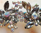 Vintage Brooch Smoky Gray and Crystal Stones by CJW