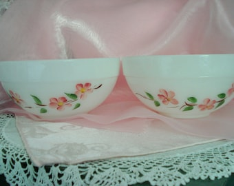 Vintage Fire King Gay Fad Mixing Bowls Set of 2 Handpainted Pink Flowers Shabby Cottage Chic