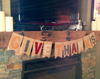 Give Thanks Burlap Banner  - Thanksgiving