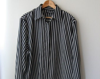 Navy and White Striped Boxy fit Blouse