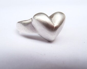 Big Heart Sterling Silver Ring