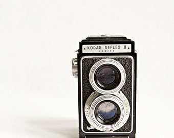 Vintage Kodak Reflex II Camera Photograph, Vintage Camera Photograph, apartment decor, silver, black, retro