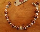Medical Alert Chocolate Pearl Bracelet