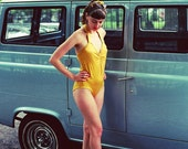 Mustard Yellow One Piece Vintage Swimsuit