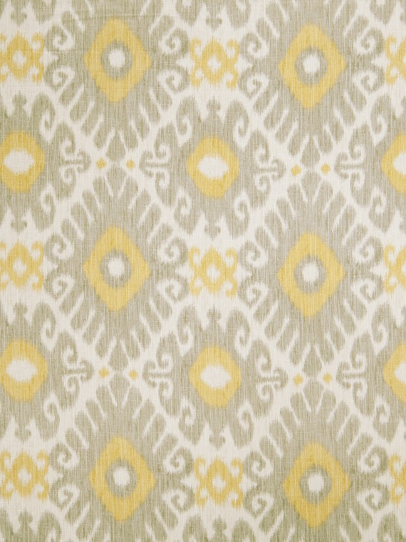 Lemon Yellow Grey Ikat Linen Upholstery Fabric Light Grey
