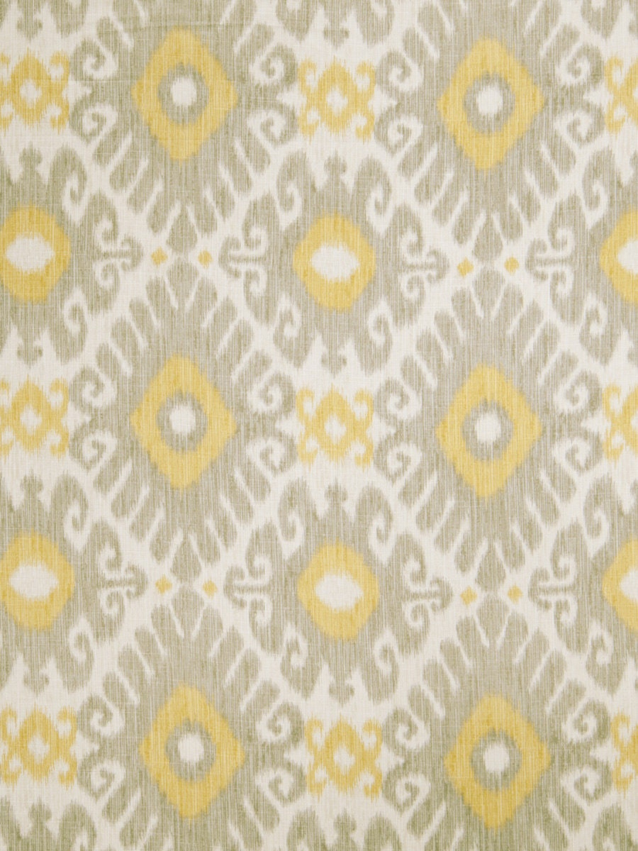 Lemon yellow grey ikat linen upholstery fabric light grey for Fabric material