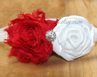 Red and White Flower Headband. Baby Headband. Girl Headband. Newborn Headband. Photo Prop.