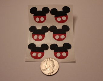 6 Mickey Mouse Head with Pants Cut-Out Stickers (1 inch)