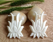 """Stick Post Earrings, """"Flowering Lily"""" Naturally Organic, Bone, Hand Carved, Tribal"""