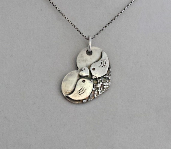 Lovebirds Pendant, Birds in Love Pendant, Recycled Fine Silver Handcrafted