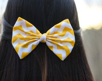 Yellow Chevron/Zig-Zag Printed Hair Bow