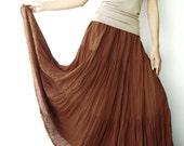 NO.5 Rust Cotton Gauze, Hippie Gypsy Boho Tiered Long Peasant Skirt