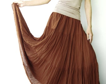 NO.5 Rust Cotton Gauze, Hippie Gypsy Boho Tiered Long Peasant Skirt