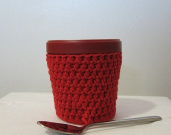 Ice Cream Cozy Pint Cover - Red Cotton Cup Cozy - Ready To Ship!