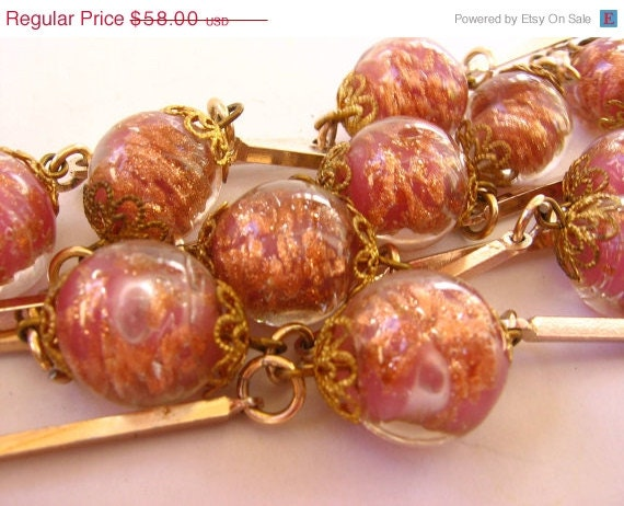 15% OFF SALE Gorgeous Pink Venetian Glass Bead Necklace