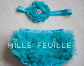 Ruffle Bloomers - Aqua - FRONT & BACK chiffon ruffles Flower Headband with crystal for newborn baby turquoise teal with crystal