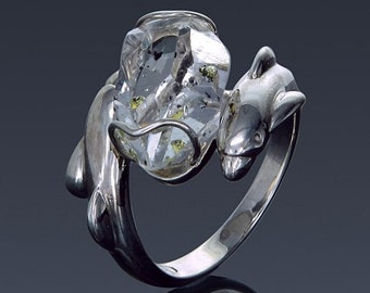 Herkimer Diamond Ring Engagement Silver Gold Enhydro double terminated meditation gem gift idea Dolphin Ring SKU1860