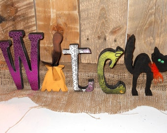 Witch Letter Set with Cat and Broom