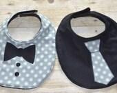 Gray Background and White Dots Two Piece Bib Set One Tie Bib and One Bow Tie Bib