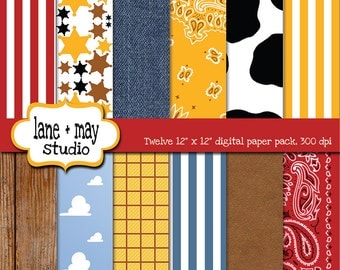 digital scrapbook papers - western cowboy themed - INSTANT DOWNLOAD