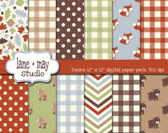 digital scrapbook papers - orange, brown, green and baby blue forest friends theme patterns  - INSTANT DOWNLOAD