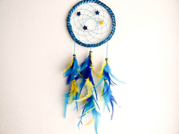 Dream Catcher - Starlight - With Small Stars, Turquoise, Blue and Yellow Feathers and Sparkling Frame - Home Decor, Nursery Mobile