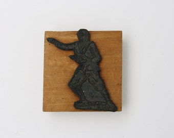 Vintage wooden stamp, Italian rubber stamp, vintage school stamps, back to school, 1940s, 1950s