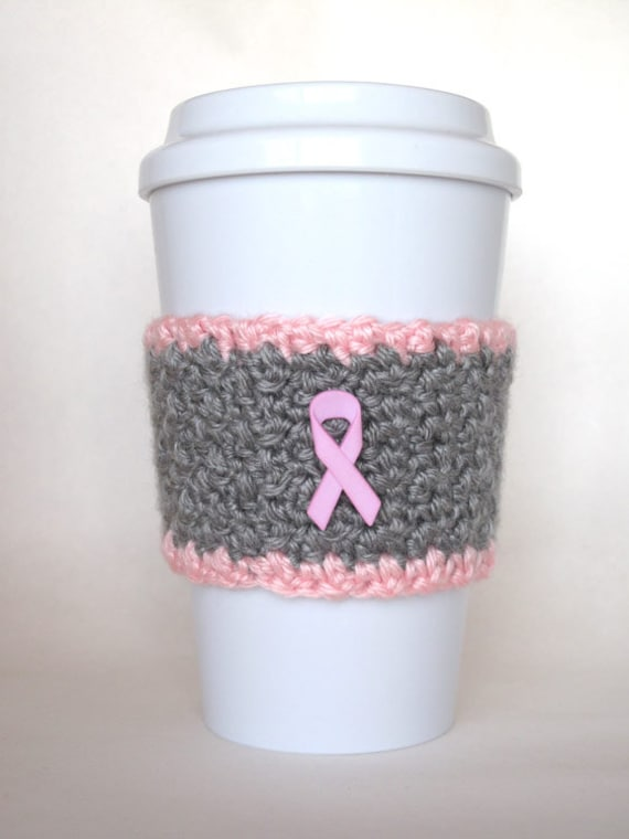 Crochet Coffee Cup Cozy Breast Cancer by TheEnchantedLadybug