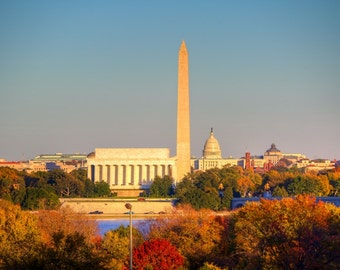 Monumental Autumn - Washington DC Photography - Fall Foliage, Autumn Colors - DC Art - Lincoln Memorial, Washington Monument, US Capitol