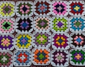 20 Crochet Granny Square Multicolor with White Border / DIY / Handmade  /  No.  TS30