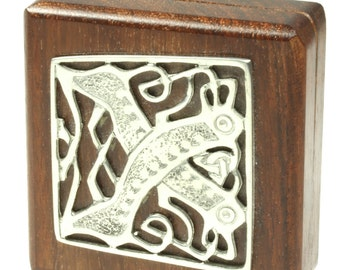 Small Wooden Metal Relief Abstract Trinket Box Stash Box