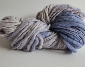 Iris Blue Color Hand Spun Hand Dyed Thick and Thin Chunky Wool Yarn