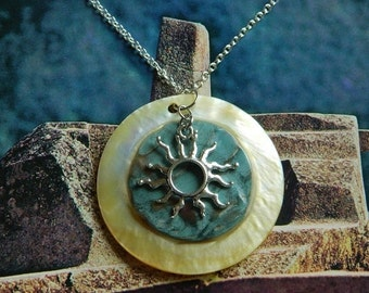 Sun Ray - Golden Mother of Pearl Embossed Shell, Sun Ray Pendant, Silver, Brass, Yellow, Green