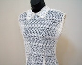 Vintage Off White Peter Pan Collar Fitted Exquisite Lace Top / Size S