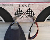 Race Car Decor Motor Sports Custom Colors Personalized Name Number Racing Fan Boys Room MTO Unique Gift Wall Hook Man Cave