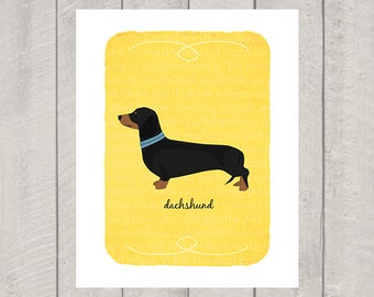 Black and Tan Dachshund Breed Custom Dog Art Print