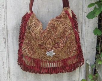 Large tapestry bag purse, gypsy messenger bag, crossbody purse, edwardian earthtone boho purse