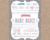 Printable Bows Trucks Gender Reveal Party Invitation