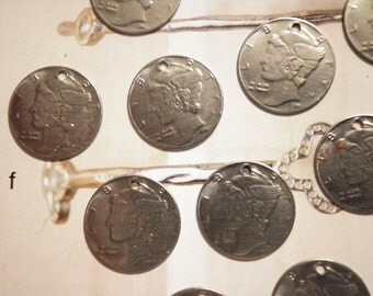 24 Steel Alloy Liberty Dime Charms