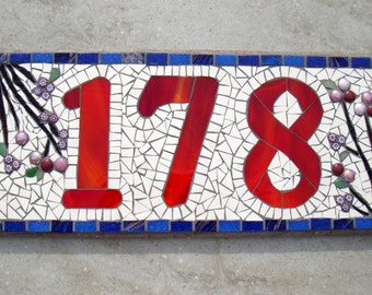 Custom Mosaic House Number, Sign, Plaque, Street Address, Yard Art, Bespoke Number,Digit, Outdoor,Wall hanging,ornament,Glass,door number, 3