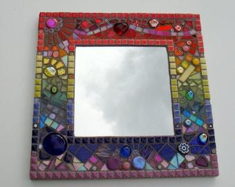 Rainbow Square Mosaic Mirror Wall Art handmade decor mirrors rainbows end uk gift present wedding birthday mosaic unique OOAK mum mom ladies