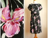 Vintage 1980s Black Purple Orchids Midi Day Dress By Sally Lou/RESERVED