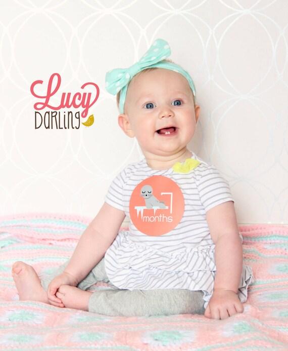 Monthly Bodysuit Baby Sticker - Baby Girl - Zoo Animals - Months 1-12