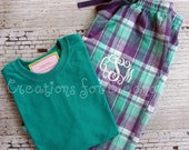 Monogrammed Pajama Pants with T-shirt, Monogrammed Pajama Set, Monogrammed Flannel Pajamas